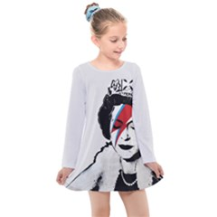 Banksy Graffiti Uk England God Save The Queen Elisabeth With David Bowie Rockband Face Makeup Ziggy Stardust Kids  Long Sleeve Dress by snek