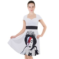 Banksy Graffiti Uk England God Save The Queen Elisabeth With David Bowie Rockband Face Makeup Ziggy Stardust Cap Sleeve Midi Dress by snek