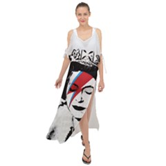 Banksy Graffiti Uk England God Save The Queen Elisabeth With David Bowie Rockband Face Makeup Ziggy Stardust Maxi Chiffon Cover Up Dress by snek