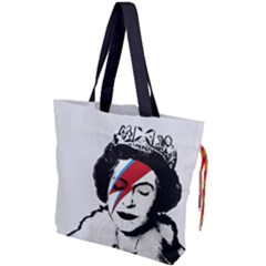 Banksy Graffiti Uk England God Save The Queen Elisabeth With David Bowie Rockband Face Makeup Ziggy Stardust Drawstring Tote Bag by snek
