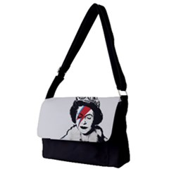 Banksy Graffiti Uk England God Save The Queen Elisabeth With David Bowie Rockband Face Makeup Ziggy Stardust Full Print Messenger Bag (s)