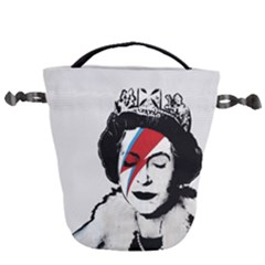Banksy Graffiti Uk England God Save The Queen Elisabeth With David Bowie Rockband Face Makeup Ziggy Stardust Drawstring Bucket Bag by snek