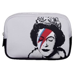 Banksy Graffiti Uk England God Save The Queen Elisabeth With David Bowie Rockband Face Makeup Ziggy Stardust Make Up Pouch (small) by snek