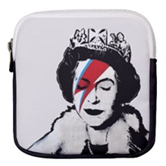 Banksy Graffiti Uk England God Save The Queen Elisabeth With David Bowie Rockband Face Makeup Ziggy Stardust Mini Square Pouch by snek