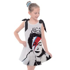 Banksy Graffiti Uk England God Save The Queen Elisabeth With David Bowie Rockband Face Makeup Ziggy Stardust Kids  Tie Up Tunic Dress by snek
