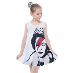 Banksy Graffiti Uk England God Save The Queen Elisabeth With David Bowie Rockband Face Makeup Ziggy Stardust Kids  Summer Dress by snek