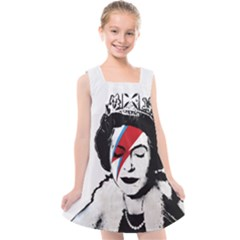 Banksy Graffiti Uk England God Save The Queen Elisabeth With David Bowie Rockband Face Makeup Ziggy Stardust Kids  Cross Back Dress by snek