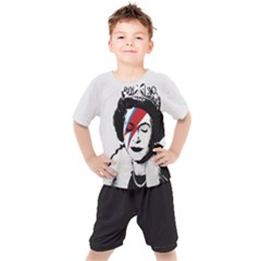 Banksy Graffiti Uk England God Save The Queen Elisabeth With David Bowie Rockband Face Makeup Ziggy Stardust Kids  Tee And Shorts Set by snek