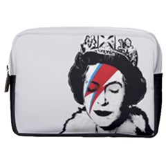 Banksy Graffiti Uk England God Save The Queen Elisabeth With David Bowie Rockband Face Makeup Ziggy Stardust Make Up Pouch (medium) by snek