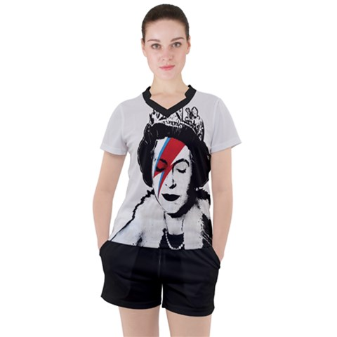 Banksy Graffiti Uk England God Save The Queen Elisabeth With David Bowie Rockband Face Makeup Ziggy Stardust Women s Tee And Shorts Set by snek