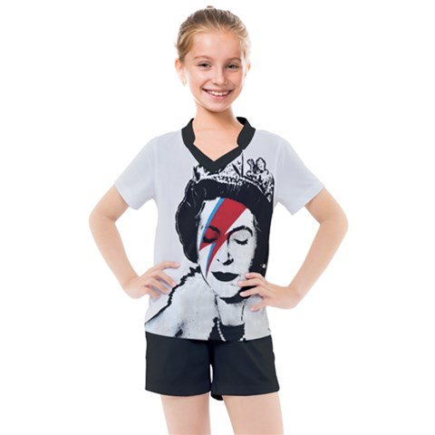 Banksy Graffiti Uk England God Save The Queen Elisabeth With David Bowie Rockband Face Makeup Ziggy Stardust Kids  Mesh Tee And Shorts Set by snek