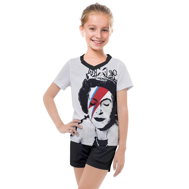 Banksy graffiti UK England God Save the Queen Elisabeth with David Bowie rockband face makeup Ziggy Stardust Kids  Mesh Tee and Shorts Set