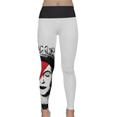 Banksy Graffiti Uk England God Save The Queen Elisabeth With David Bowie Rockband Face Makeup Ziggy Stardust Lightweight Velour Classic Yoga Leggings by snek