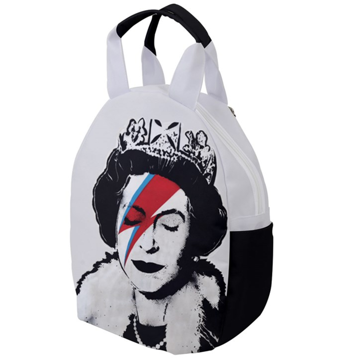 Banksy graffiti UK England God Save the Queen Elisabeth with David Bowie rockband face makeup Ziggy Stardust Travel Backpacks