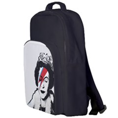 Banksy Graffiti Uk England God Save The Queen Elisabeth With David Bowie Rockband Face Makeup Ziggy Stardust Double Compartment Backpack by snek
