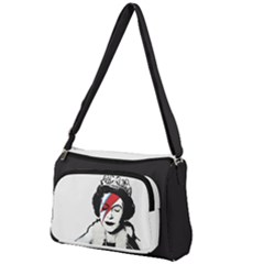 Banksy Graffiti Uk England God Save The Queen Elisabeth With David Bowie Rockband Face Makeup Ziggy Stardust Front Pocket Crossbody Bag