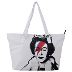 Banksy Graffiti Uk England God Save The Queen Elisabeth With David Bowie Rockband Face Makeup Ziggy Stardust Full Print Shoulder Bag by snek