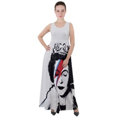 Banksy Graffiti Uk England God Save The Queen Elisabeth With David Bowie Rockband Face Makeup Ziggy Stardust Empire Waist Velour Maxi Dress by snek