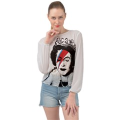Banksy Graffiti Uk England God Save The Queen Elisabeth With David Bowie Rockband Face Makeup Ziggy Stardust Banded Bottom Chiffon Top