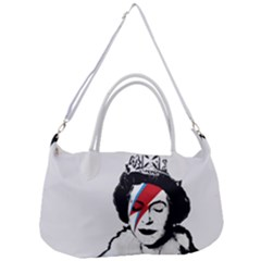 Banksy Graffiti Uk England God Save The Queen Elisabeth With David Bowie Rockband Face Makeup Ziggy Stardust Removal Strap Handbag
