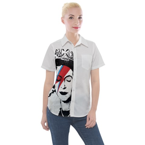 Banksy Graffiti Uk England God Save The Queen Elisabeth With David Bowie Rockband Face Makeup Ziggy Stardust Women s Short Sleeve Pocket Shirt by snek