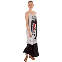 Banksy Graffiti Uk England God Save The Queen Elisabeth With David Bowie Rockband Face Makeup Ziggy Stardust Cami Maxi Ruffle Chiffon Dress