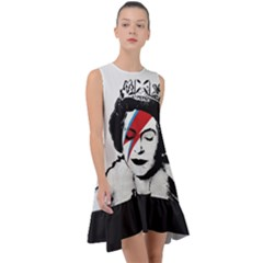 Banksy Graffiti Uk England God Save The Queen Elisabeth With David Bowie Rockband Face Makeup Ziggy Stardust Frill Swing Dress
