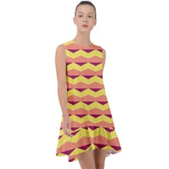 Background Colorful Chevron Frill Swing Dress