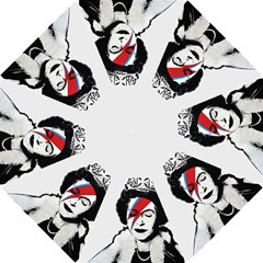 Banksy Graffiti Uk England God Save The Queen Elisabeth With David Bowie Rockband Face Makeup Ziggy Stardust Hook Handle Umbrellas (medium) by snek