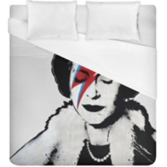 Banksy Graffiti Uk England God Save The Queen Elisabeth With David Bowie Rockband Face Makeup Ziggy Stardust Duvet Cover (king Size) by snek