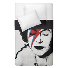 Banksy Graffiti Uk England God Save The Queen Elisabeth With David Bowie Rockband Face Makeup Ziggy Stardust Duvet Cover Double Side (single Size) by snek