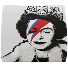 Banksy Graffiti Uk England God Save The Queen Elisabeth With David Bowie Rockband Face Makeup Ziggy Stardust Seat Cushion by snek