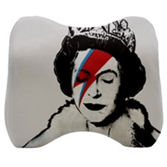 Banksy Graffiti Uk England God Save The Queen Elisabeth With David Bowie Rockband Face Makeup Ziggy Stardust Velour Head Support Cushion by snek