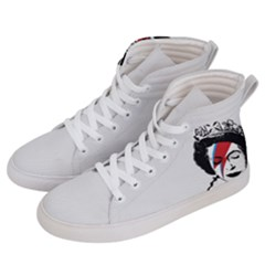 Banksy Graffiti Uk England God Save The Queen Elisabeth With David Bowie Rockband Face Makeup Ziggy Stardust Men s Hi-top Skate Sneakers by snek