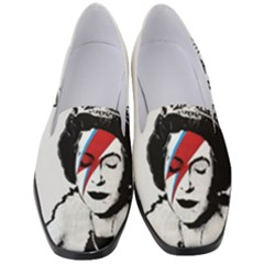 Banksy Graffiti Uk England God Save The Queen Elisabeth With David Bowie Rockband Face Makeup Ziggy Stardust Women s Classic Loafer Heels by snek