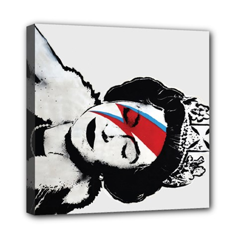 Banksy Graffiti Uk England God Save The Queen Elisabeth With David Bowie Rockband Face Makeup Ziggy Stardust Mini Canvas 8  X 8  (stretched) by snek