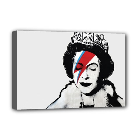 Banksy Graffiti Uk England God Save The Queen Elisabeth With David Bowie Rockband Face Makeup Ziggy Stardust Deluxe Canvas 18  X 12  (stretched) by snek