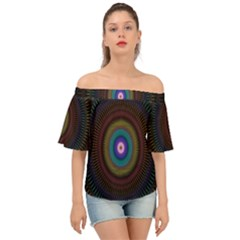 Artskop Kaleidoscope Pattern Off Shoulder Short Sleeve Top