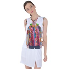 African Fabrics Fabrics Of Africa Front Fabrics Of Africa Back Women s Sleeveless Mesh Sports Top