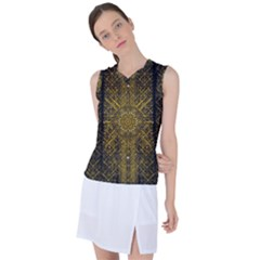Stars For A Cool Medieval Golden Star Women s Sleeveless Mesh Sports Top by pepitasart