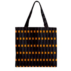 Pattern Illustrations Plaid Zipper Grocery Tote Bag