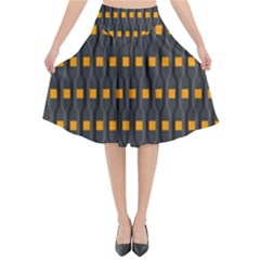 Pattern Illustrations Plaid Flared Midi Skirt by HermanTelo