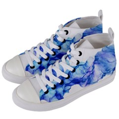 Blue Smoke Women s Mid-top Canvas Sneakers by goljakoff