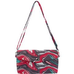 Red Vivid Marble Pattern Removable Strap Clutch Bag