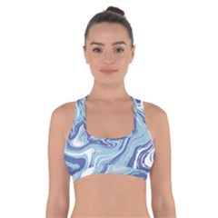 Blue Vivid Marble Pattern Cross Back Sports Bra by goljakoff