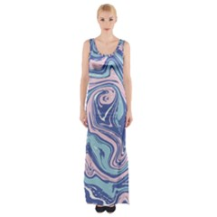 Blue And Pink Vivid Marble Pattern Thigh Split Maxi Dress