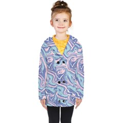 Blue And Pink Vivid Marble Pattern Kids  Double Breasted Button Coat by goljakoff