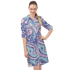 Blue And Pink Vivid Marble Pattern Long Sleeve Mini Shirt Dress