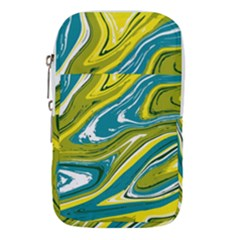 Green And Yellow Vivid Marble Pattern Waist Pouch (large)