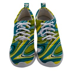 Green And Yellow Vivid Marble Pattern Women Athletic Shoes by goljakoff
